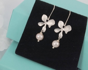 Freshwater Pearl and Matte silver Orchid  Earrings