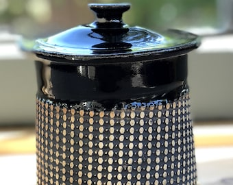 Small Covered Jar, Black Stain on Unglazed Texture Pattern Exterior With Shiny Black Patent Glaze