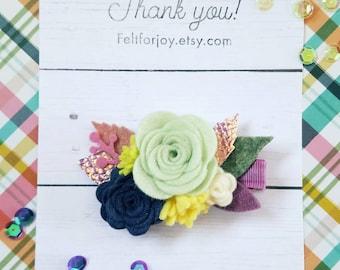Felt flower hair clip, felt hair clip, flower hair accessory, summer hair clip, spring hair clip, girl hair accessory