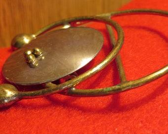 """ABSTRACT Sphere & RINGS, Brass / Steel BROOCH, Vintage, 2.25"""" L, 2"""" W (#50J-E)"""