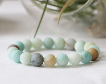 Matte Flower Amazonite Stacker Bracelet
