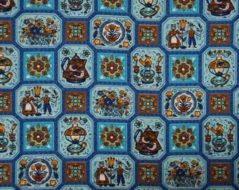 Vintage Folk Art Fabric