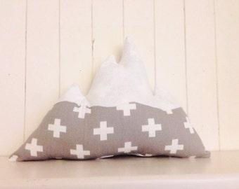 Grey mountain decorative pillow kid room modern decor nursery woodland cushion