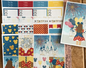 Dreaming of Disney Lets go to disney world Stickers Weekly Planner Kit Erin Condre Life Planner