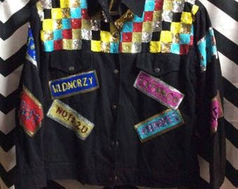 VINTAGE 1980s Sequin Denim Twill Checkered and License plate Sequin Button-up Jacket - MODI Sample Deadstock