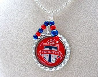 Toronto FC Soccer Necklace, Toronto FC Soccer Jewelry, Toronto FC Accessories, Soccer Mom, Sports Jewelry, Soccer Necklace, Soccer Gift