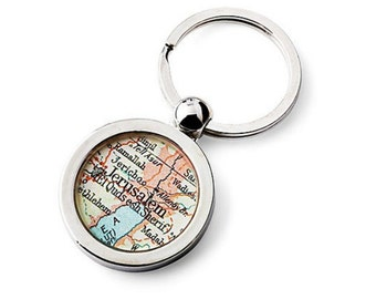 Jerusalem Keychain Map Key Ring Fob Vintage Israel  Atlas  by sherrytruitt Free Shipping in the US