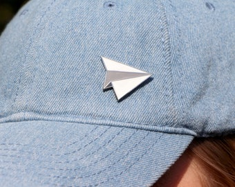 Paper Airplane Enamel Pin / Airplane Lapel Pin / Hard Enamel Pin