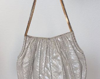 1960s Judith Leiber Taupe Snakeskin Bag Gold and Silver Chain Strap