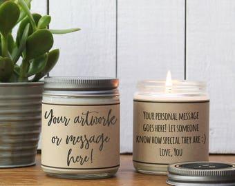 Custom Candle - ADD YOUR ART - Custom Gift | Corporate Gift | Add Logo Gift | Corporate Logo Gift | Photo Candle | Add your artwork Candle