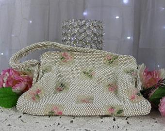 Vintage Beaded Hand Bag Vintage Handbags,Evening Purse,Vintage Clutches,Antique Purse, 50's Evening Bag,Rhinestone Velvet Purse/Bag