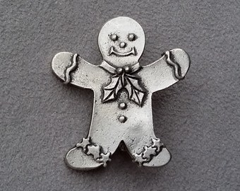 Gingerbread Man Brooch, Vintage Signed Seagull Pewter Brooch, Christmas Brooch, Christmas Gingerbread Lapel Pin, Christmas Gift