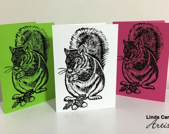 Squirrel 3 pack of cards, Linocut hand printed squirrel card, Greetings card, Linoprint