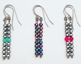 Metalikus Collection Lantern Stack Hematite Jade Amazonite Stainless Steel Earrings