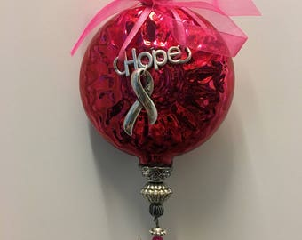 Breast Cancer Awareness Pink Ribbon GLASS ORNAMENT,  * Handcrafted, Donation Included