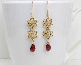 Garnet drop earrings, January birthstone jewelry, Gold flower earrings