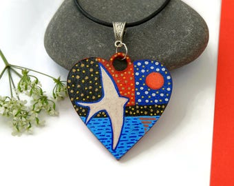 Flying Bird Necklace, Bird Heart Pendant, Hand Painted Jewelry, Wooden Heart Necklace, Bird Jewelry, Unique Jewelry, Romantic Gift For Her