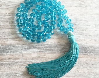 Tassel necklace- bohemian jewelry- long tassel necklace- bohemian necklace- beaded necklace, crystal necklace, turquoise necklace