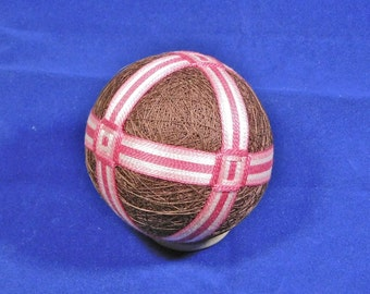 Rattling Temari Ball Ornament Bands of Pinks on Chocolate Home Decor Wedding Gift