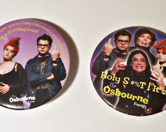 2 Pinback Button The Osbourne Family Pins Button 1980's