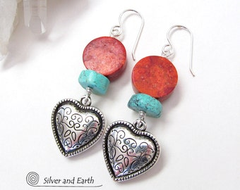 Silver Heart Earrings, Red Coral & Turquoise, Southwestern Jewelry, Turquoise Earrings, Mother's Day Gift, Free Gift Wrap, Gifts for Women