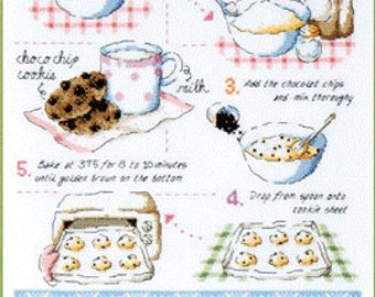 Chocolate Chip cookie cross stitch pattern and kit by Soda Stitch, cooking counted cross stitch pattern, cookie cross stitch pattern