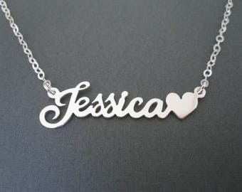 Personalized Name Necklace with Heart - 4 Colors - Custom Name Necklace - Girl Necklace - Children Names Necklace - Custom Name Gift