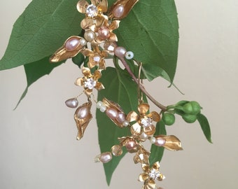 Gold pearl and crystal vine earrings with 9 carat posts