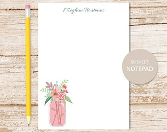 personalized floral notepad . mason jar notepad . flowers note pad .  notepad . personalized stationery . womens stationary