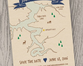 Printable Digital File - Table Rock Lake Map Save the Date Card - Customizable - Wedding, Shower, Missouri, Arkansas, Hand-drawn