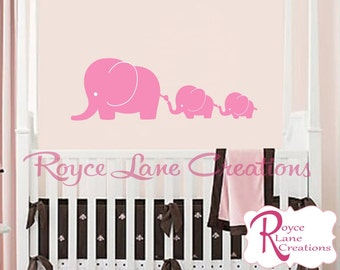 Nursery Decals - Elephant Family 3 Elephants Decal Elephant Nursery Wall Decal- Wall Decal- Nursery Wall Decal-Children Wall Decal