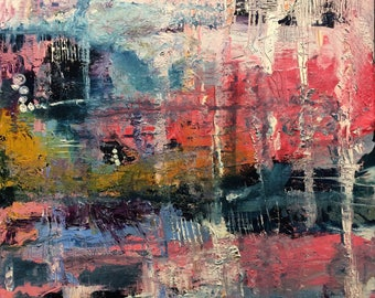 Original Abstract Oil Painting; Pink; Grey; Yellow; Blue; White; Contemporary Art; 20 ins x 24ins