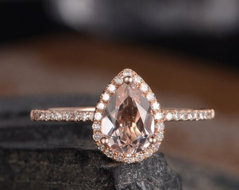 Pear Shaped Engagement Ring Morganite Rose Gold Ring Bridal Diamond Halo Women Antique Ring Anniversary Gift Mothers Day Gift Drop Tear
