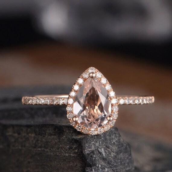 Pear Shaped Engagement Ring Rose Gold Morganite Ring Bridal