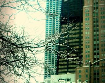 Chicago Photo, The Drake Hotel, Michigan Avenue, Chicago Photography art print, Chicago Architecture, winter, neutrals, 70s style, modern