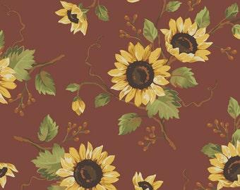 Black Bird Acres Fabric - Sunflowers on Red
