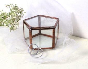 Glass Wedding Ring Box / Pentagon Box / Jewelry Box /Wedding Gift/ Clear Glass Display Box / Ring Bearer Box