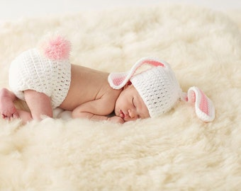 Easter, infant, Bunny photography set crochet