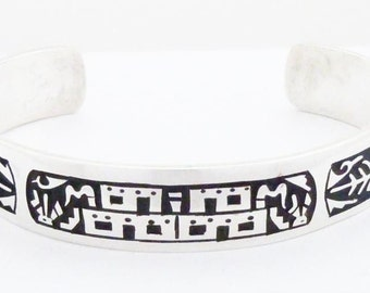 Hopi Bracelet Sterling Silver Native American Signed Signed and Free Shipping