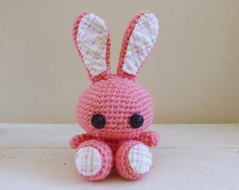 Bubblegum the Bunny, Cute Stuffed Animal, Crochet Stuffed Animal