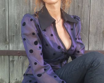 Purple curved blouse with velvet peas. 03317