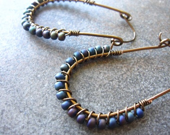 Wire Wrapped Hoop Oval Earrings with Teal Blue, green and purple Glass Beads