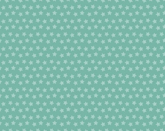 Sirius Stars on Teal from Blend Fabric's Luckie Collection by Maude Asbury