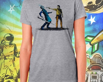 Game of Thrones / Walking Dead / Rick Grimes Ends The Night King's Winter / Women's Gray Performance T-Shirt