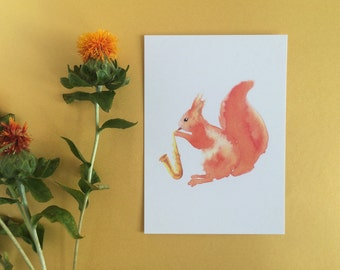 Squirrel Postcard - eco-friendly postcard - recycled paper