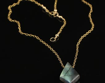 Labradorite Gemstone Pendant with Geometric Shape on 14KT Gold Filled Chain