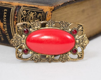1910s vintage brooch / brass brooch / Amelia