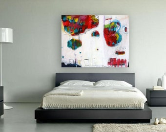 "large ABSTRACT Print of Painting, Giclée print with blue, red,white, yellow, ""Colorful islands"""