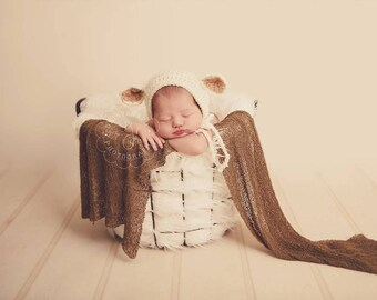 Newborn Sheep Hat, Baby Lamb hat, Baby sheep hat, Baby Easter outfit - Photo prop