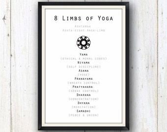 8 limbs of yoga art print/ yoga studio decor